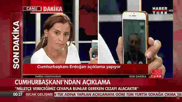 在COUP尝试期间,土耳其总统通过FaceTime出现在直播电视